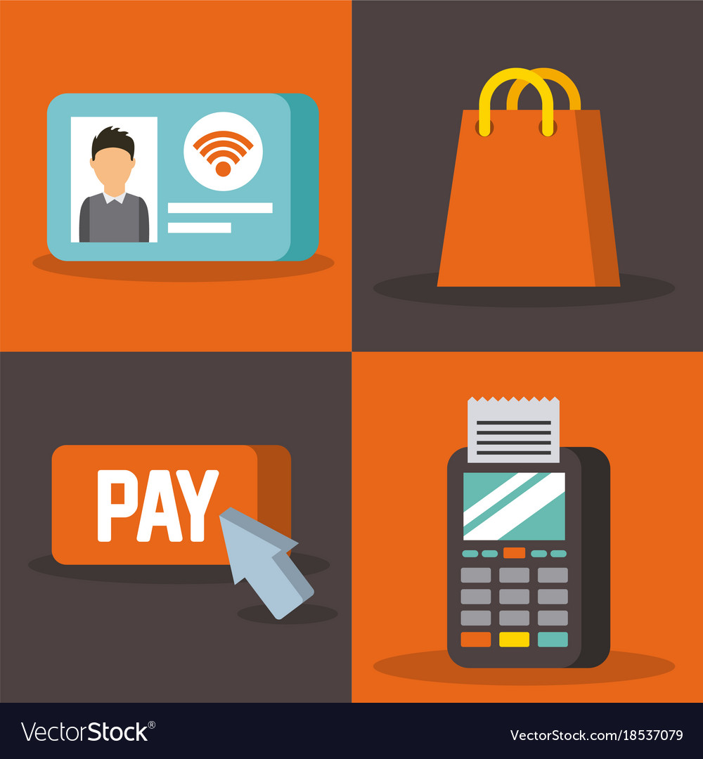 Set of payment with nfc icons contactless