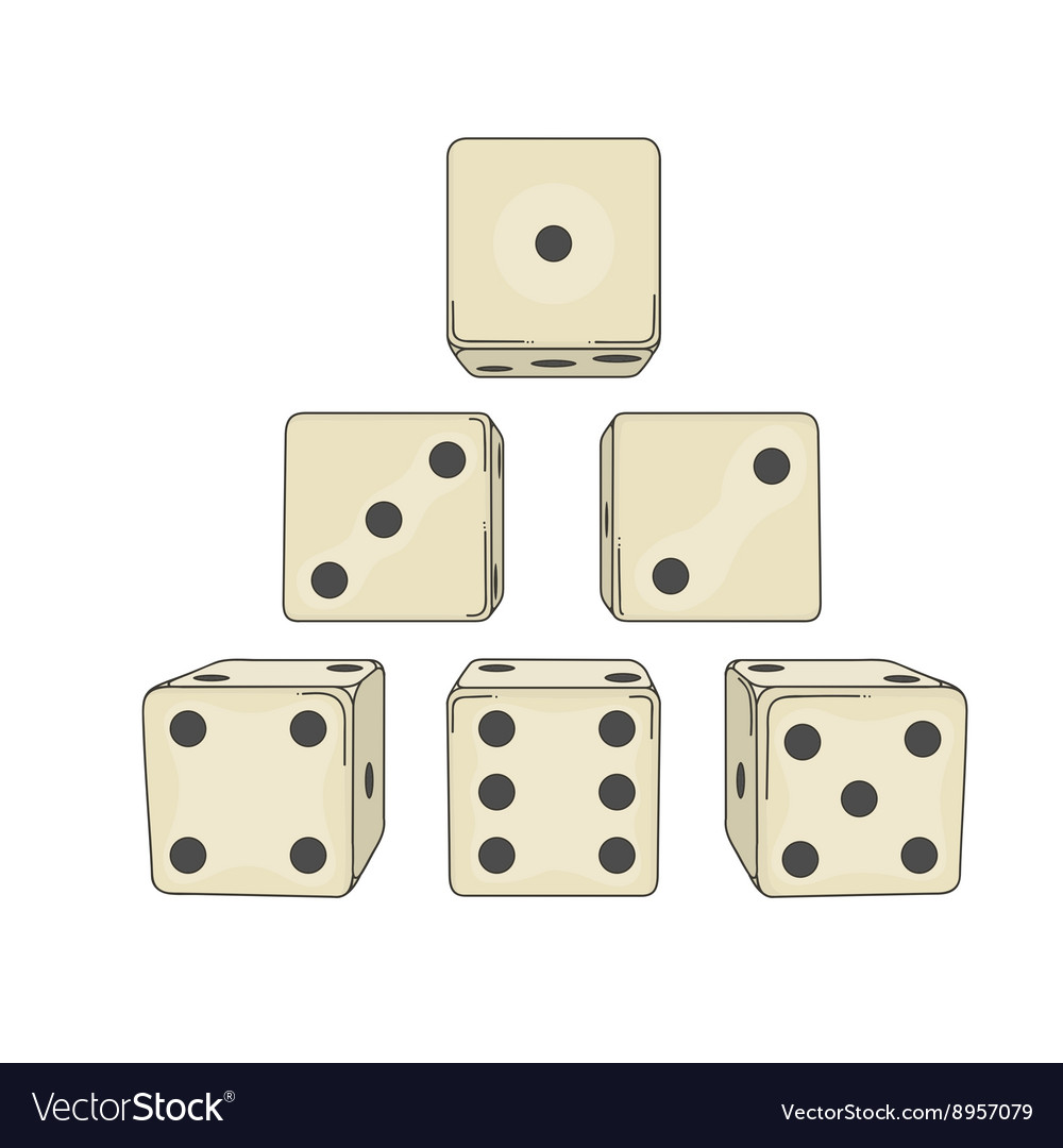 Six colored cartoon-style dice cubes vector image