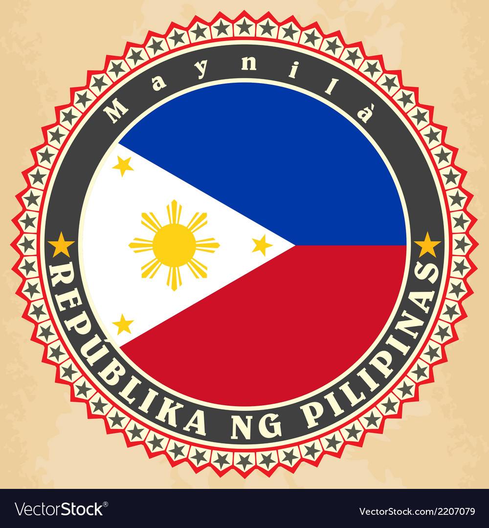 Vintage label cards of Philippines flag
