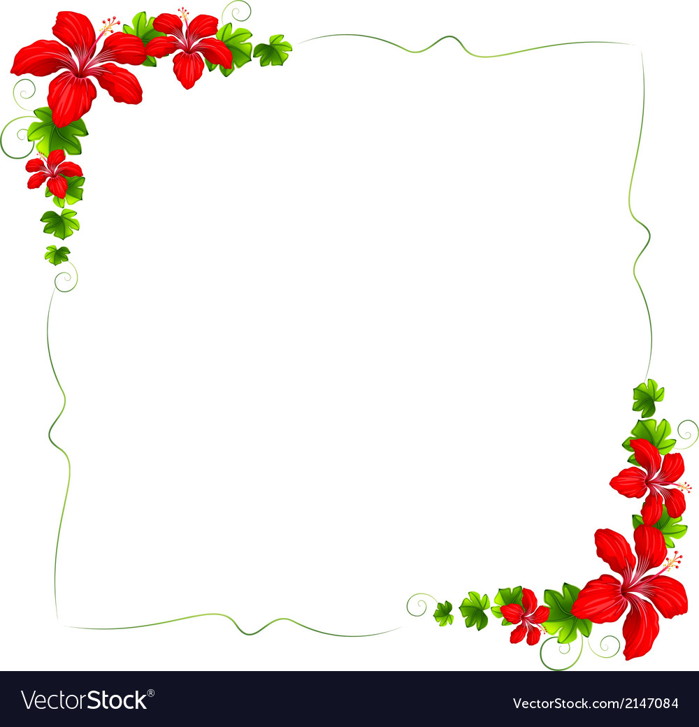 A floral border with red flowers