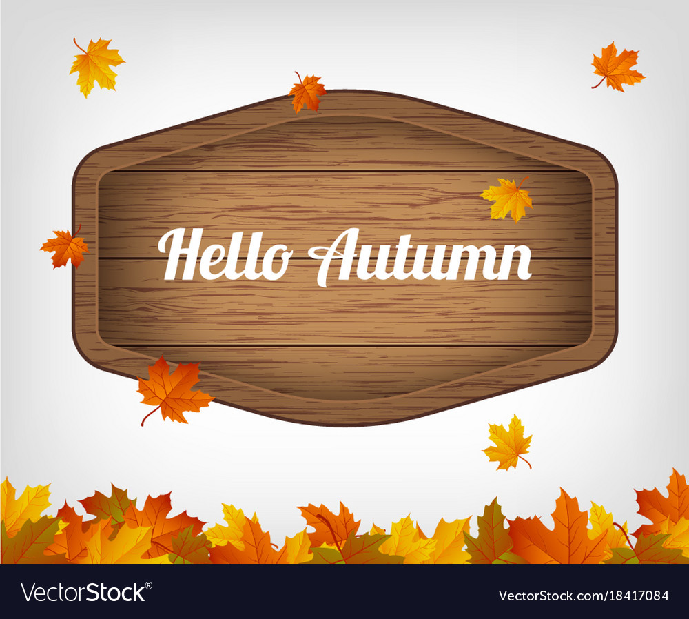 Autumn background with maple leaves and wooden