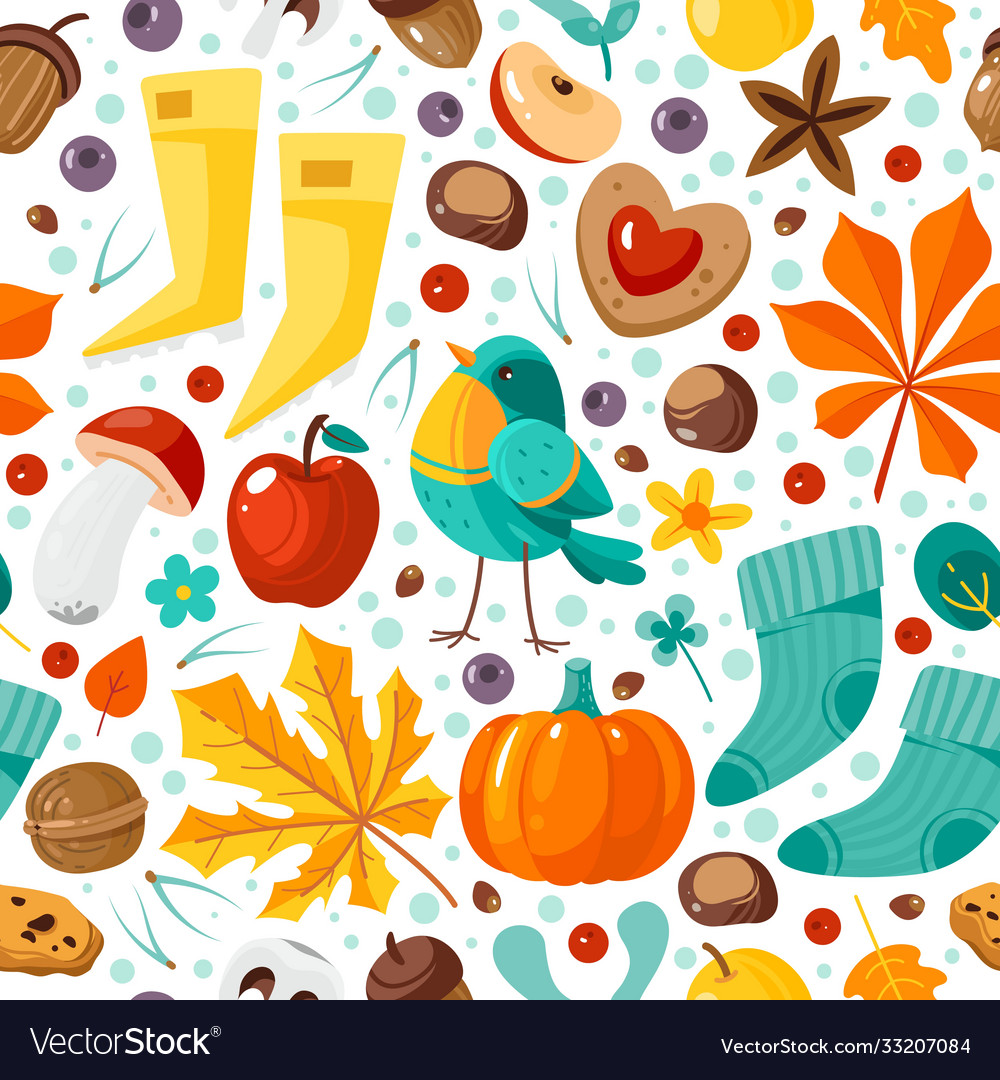 Autumn seamless pattern yellow leaves pumpkins