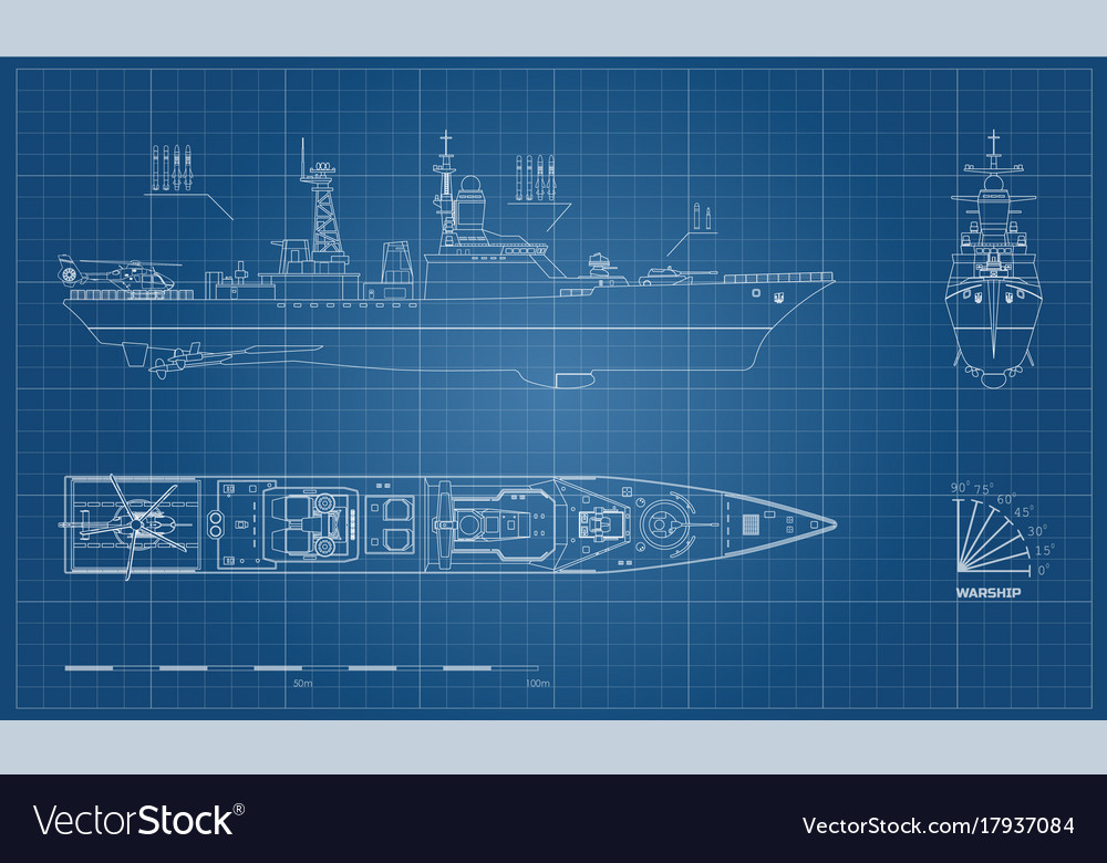 Blueprint of military ship top front and side