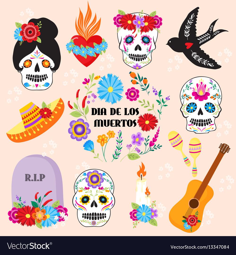 Colorful symbols dia de los muertos holiday day of