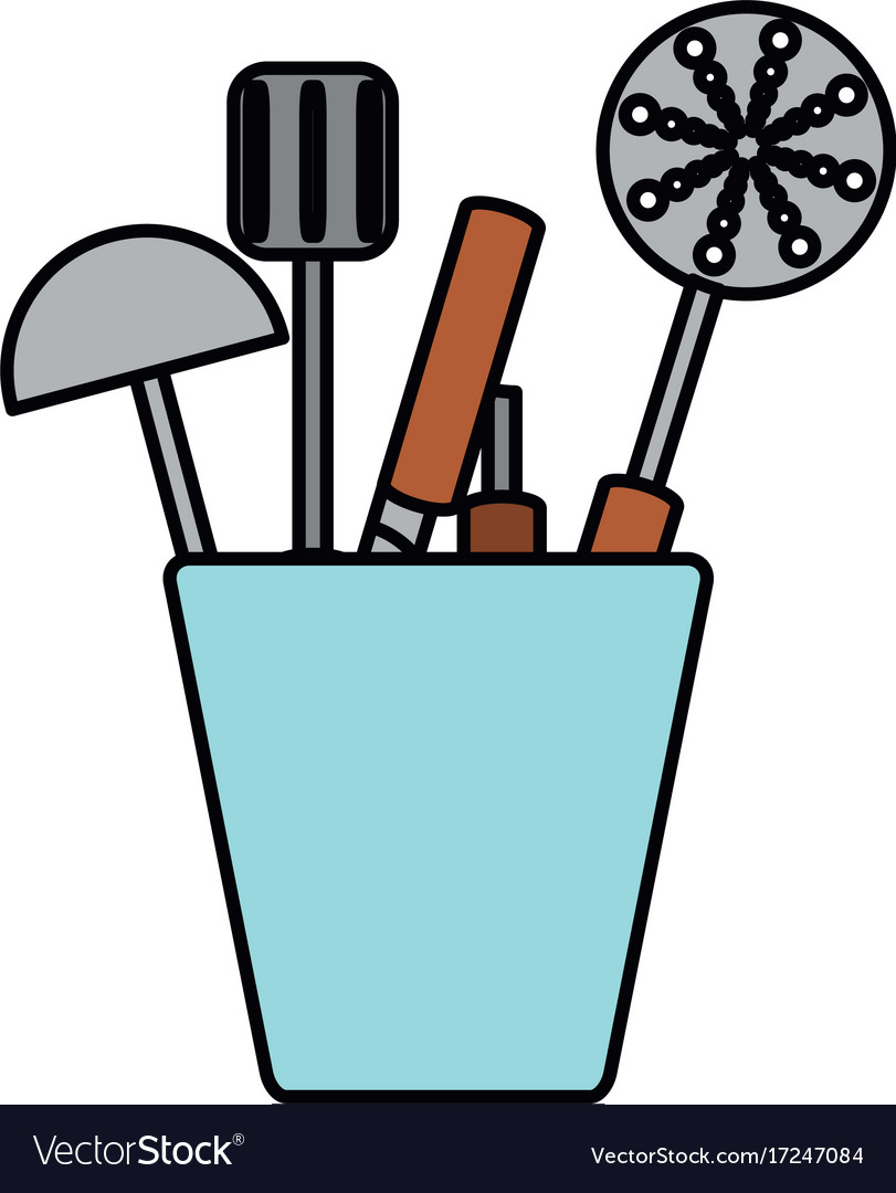 Cup with kitchen utensils icon Royalty Free Vector Image