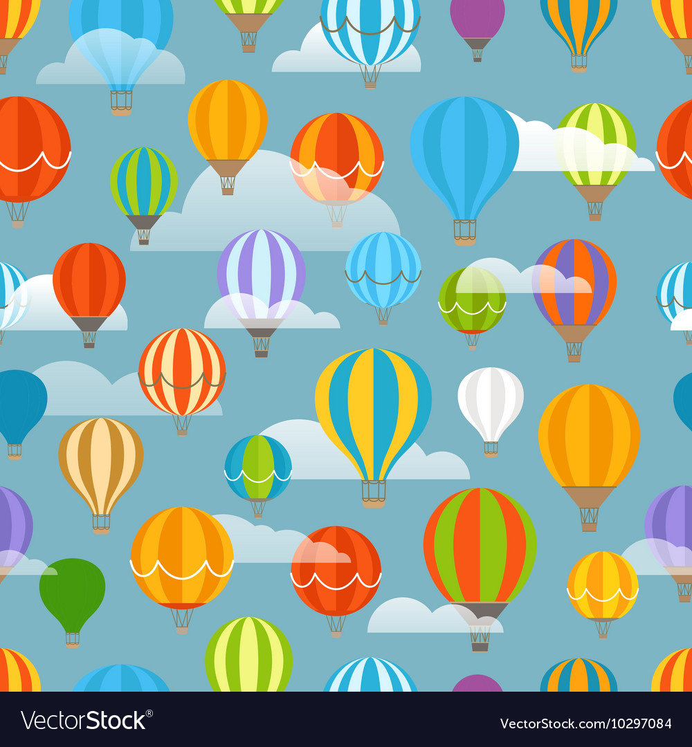 Different colorful air balloons seamless pattern vector image