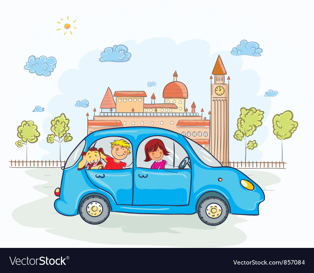 Family going for a ride vector image