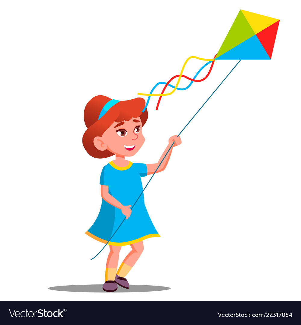 Little kid girl running with colored kite in her