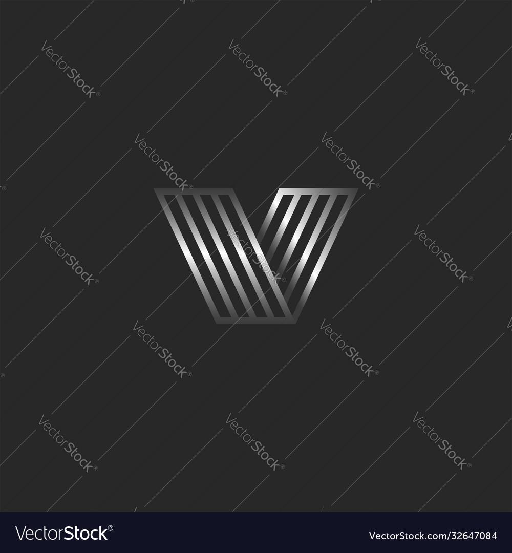 Monogram v 3d logo letter creative