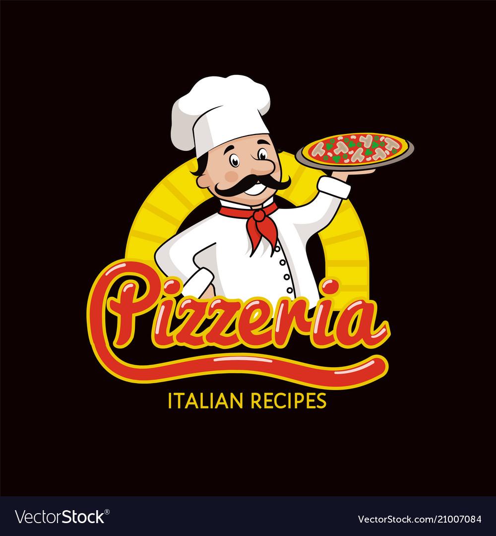 Pizzeria with italian recipes promotional logotype