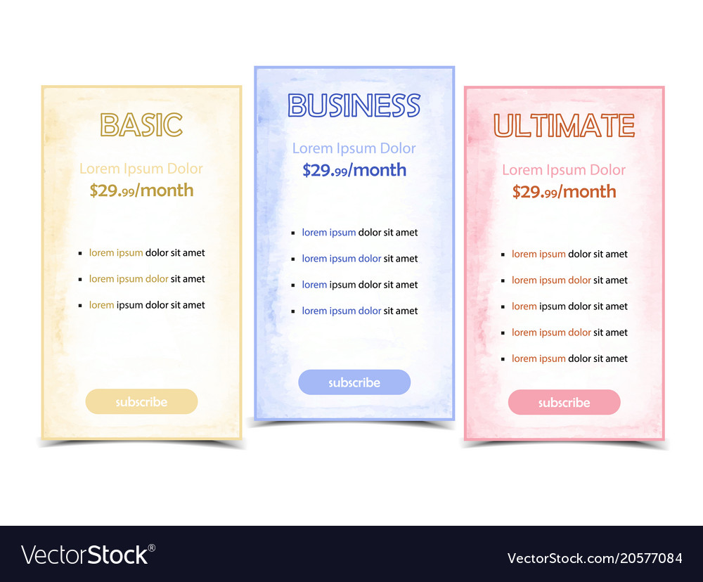Pricing table banner