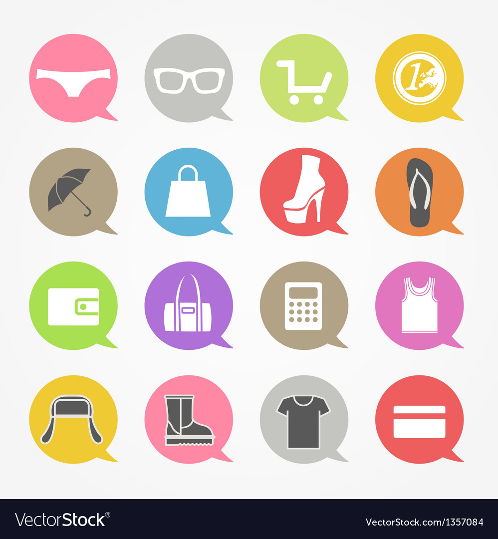 Shopping web icons set in color speech clouds vector image