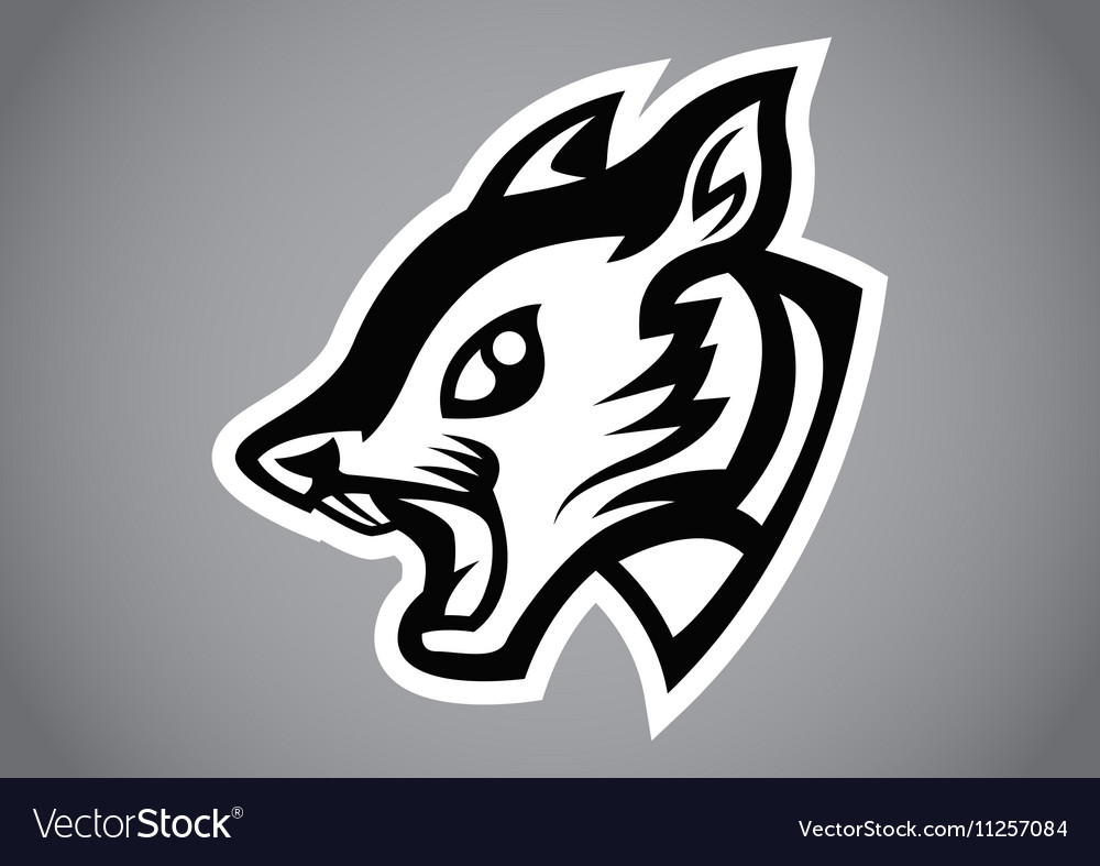 Squirrel head black shield logo vector image
