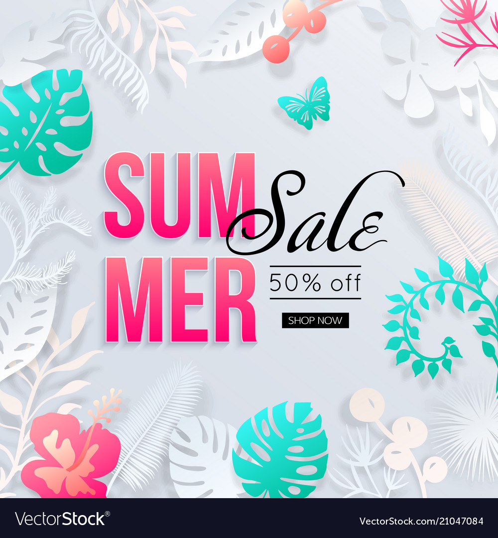Summer sale banner with paper cut tropical palm