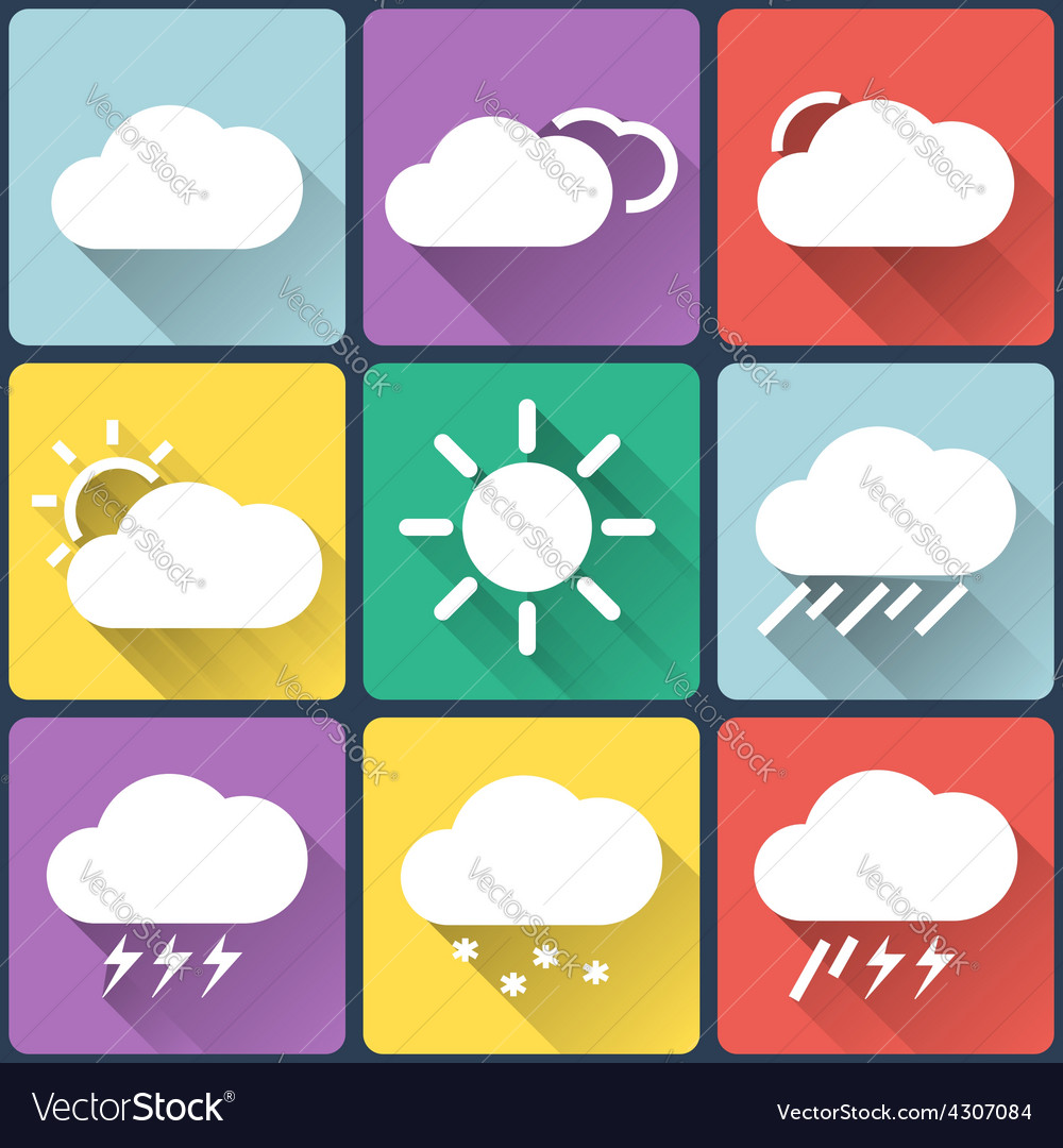 Weather flat icons set on multicolor background