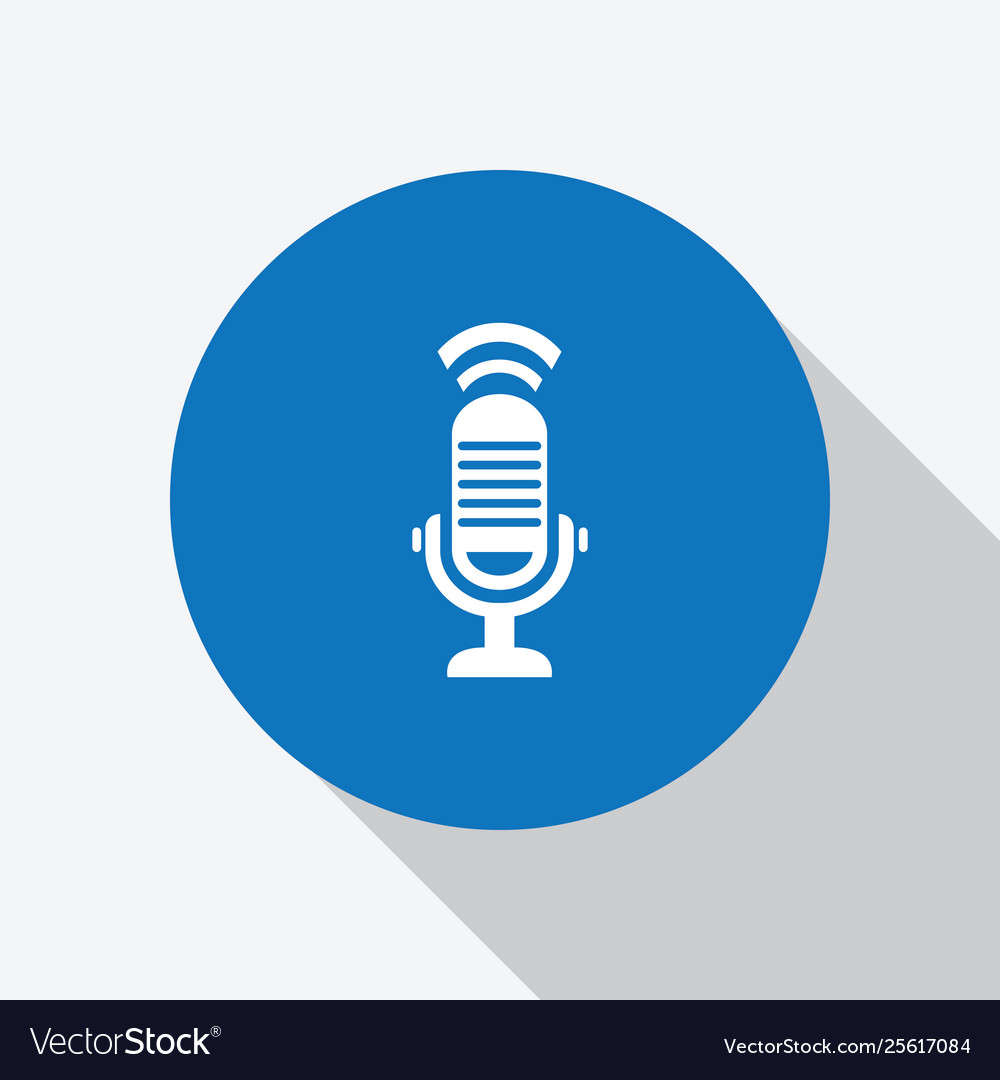 White microphone in blue circle with shadow icon