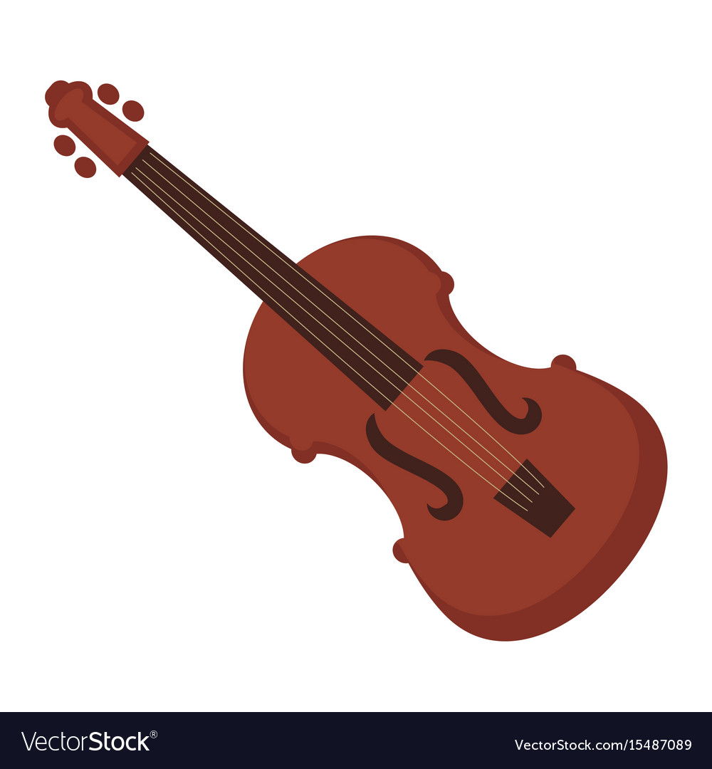 Antique violin of dark wood isolated vector image