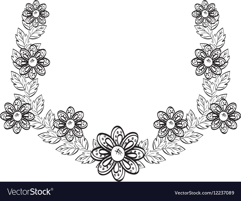 Beautiful Flower In Black And White Royalty Free Vector