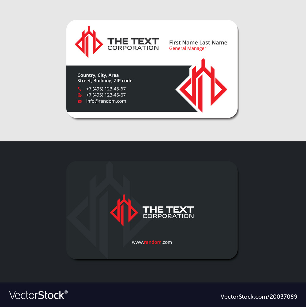 Blackish business card with red castle