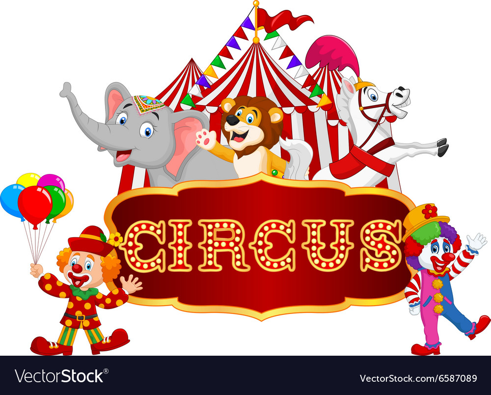 cartoon animal circus and clown with carnival vector image rh vectorstock com circle vector cirque victory park