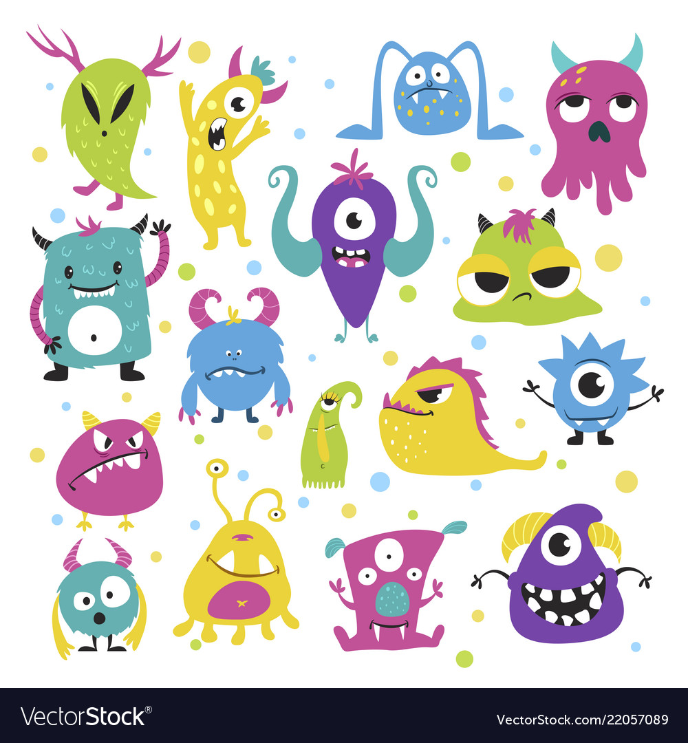 Cute funny little monsters in bright colors