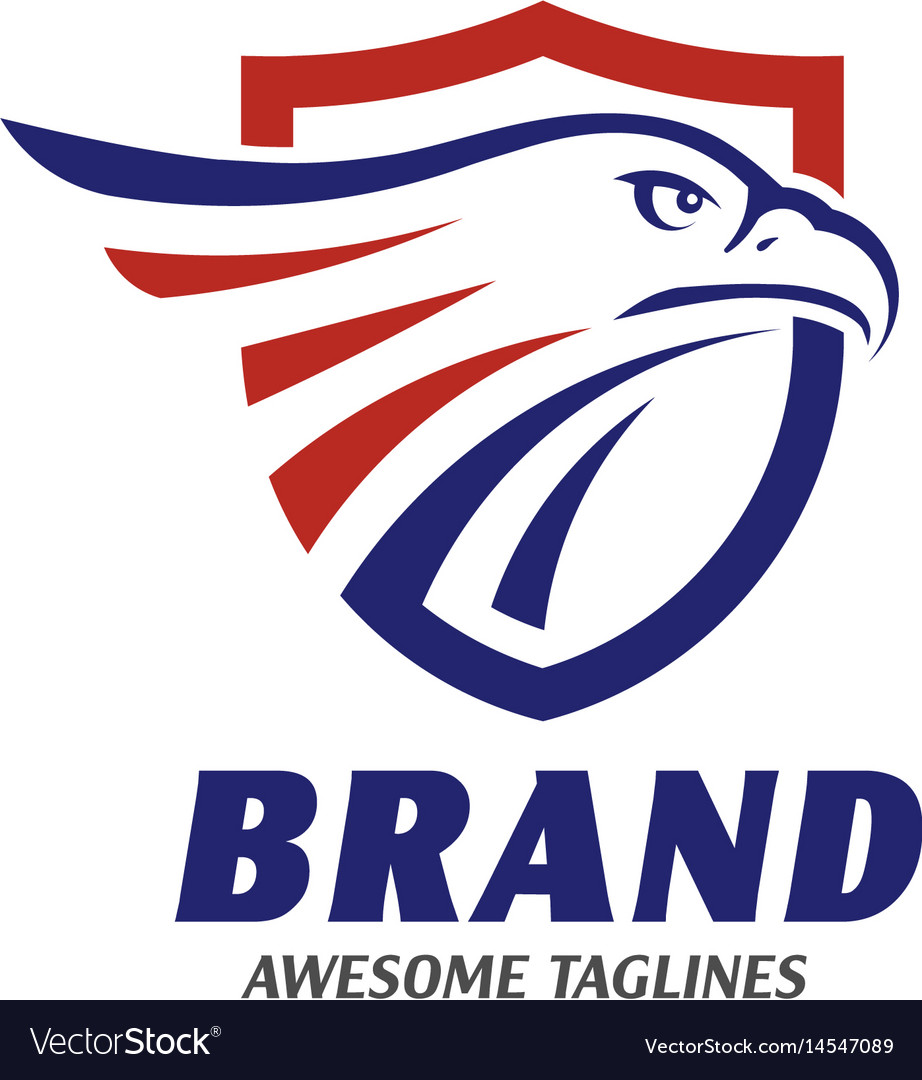Eagle heads with shields logo vector image
