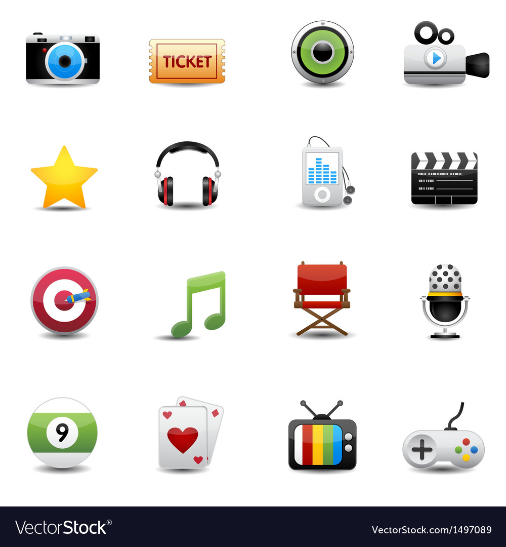 Entertainment and movie icons set vector image