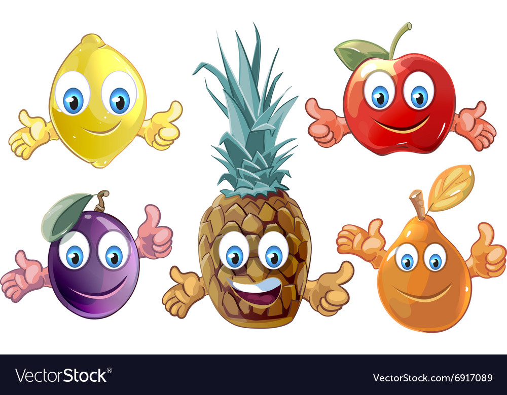 Funny cartoon fruits icons
