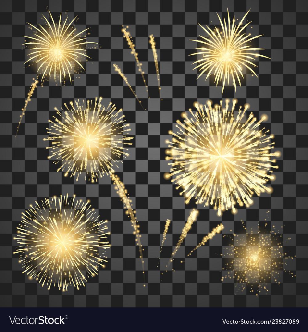 Gold festival fireworks set colorful carnival