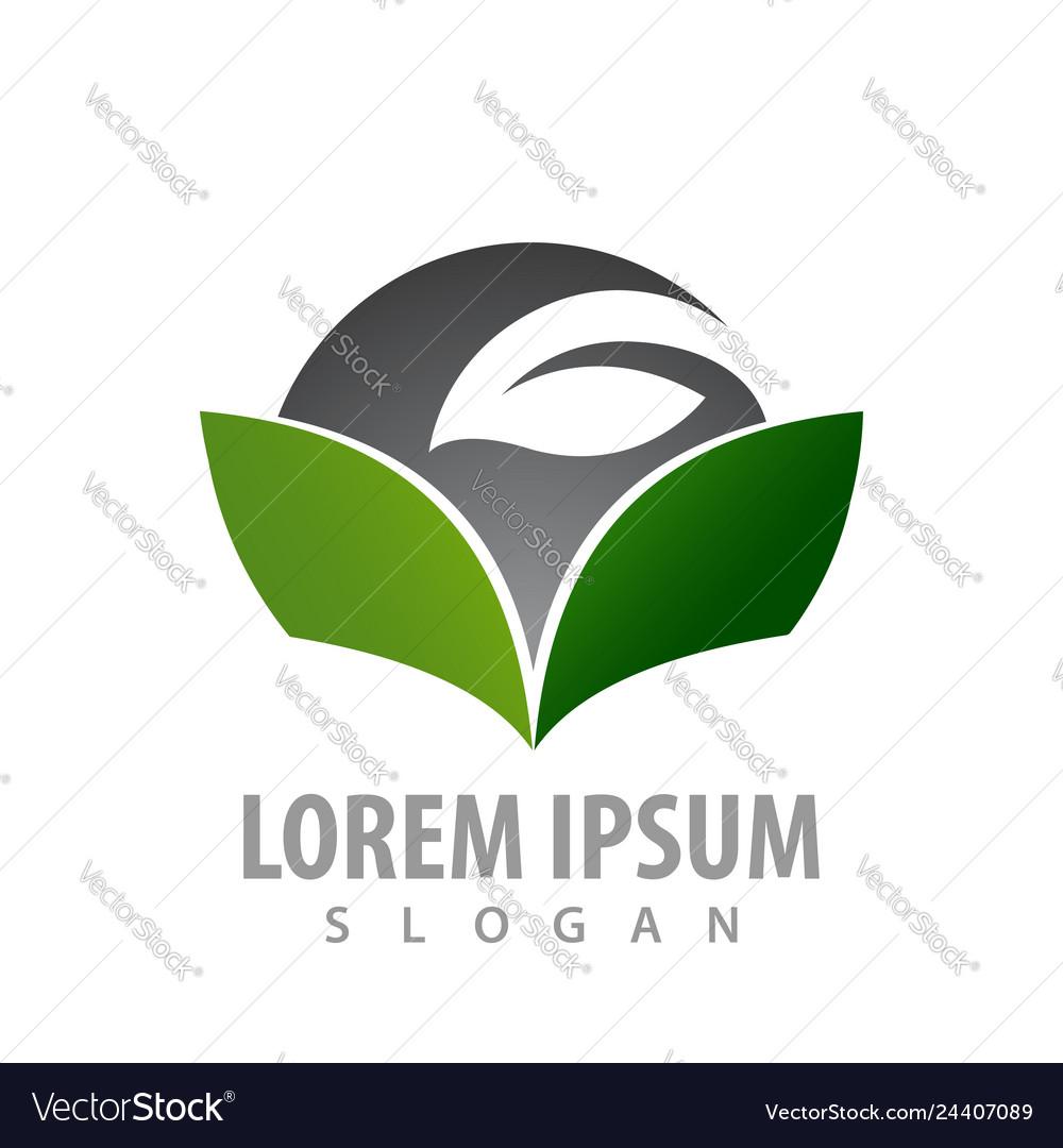 Green book leaf concept design symbol graphic