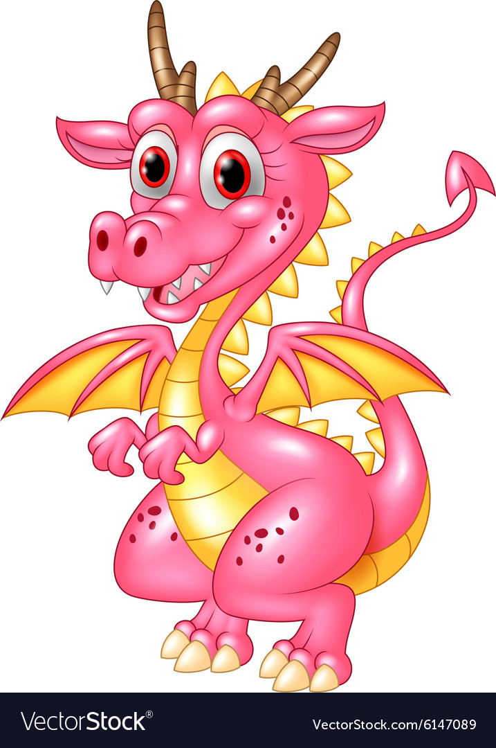 Happy dragon isolated on transparent background