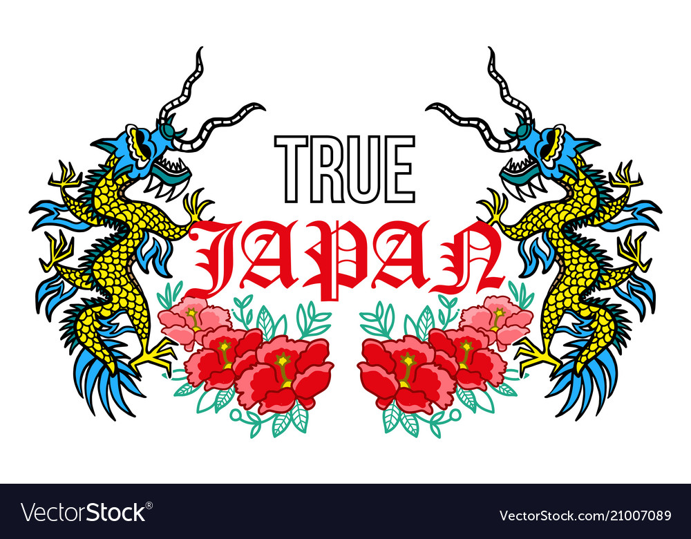 Japan dragons print
