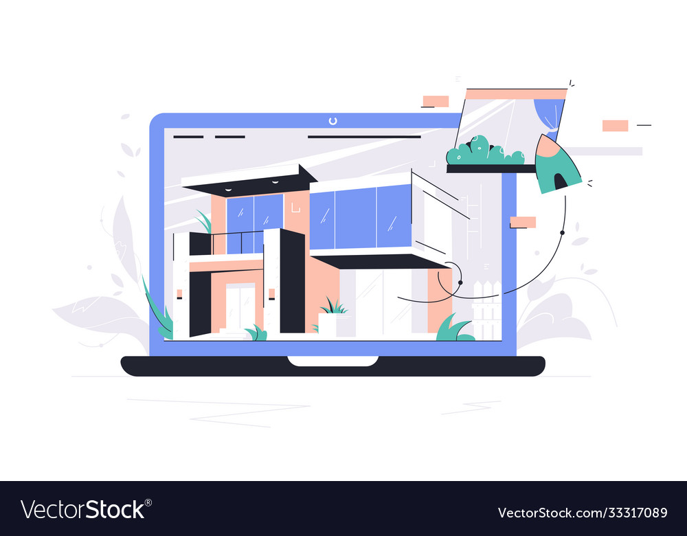 Laptop using selection materials app for house
