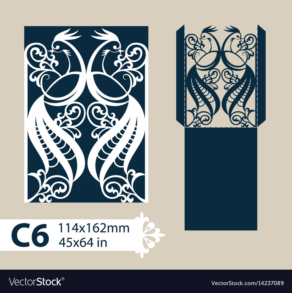 Layout greeting envelope with ornamental bird