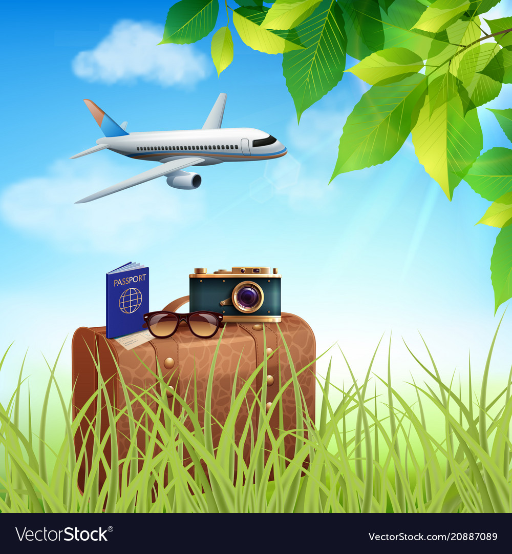 Summer holidays realistic colored concept