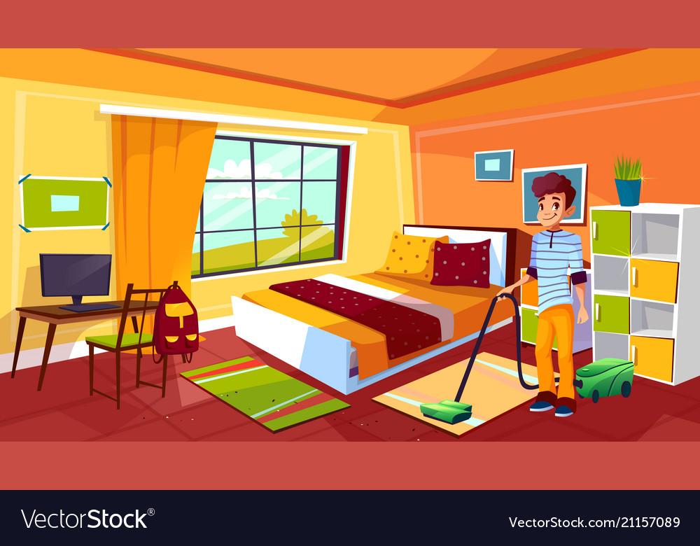 Teen boy cleaning room