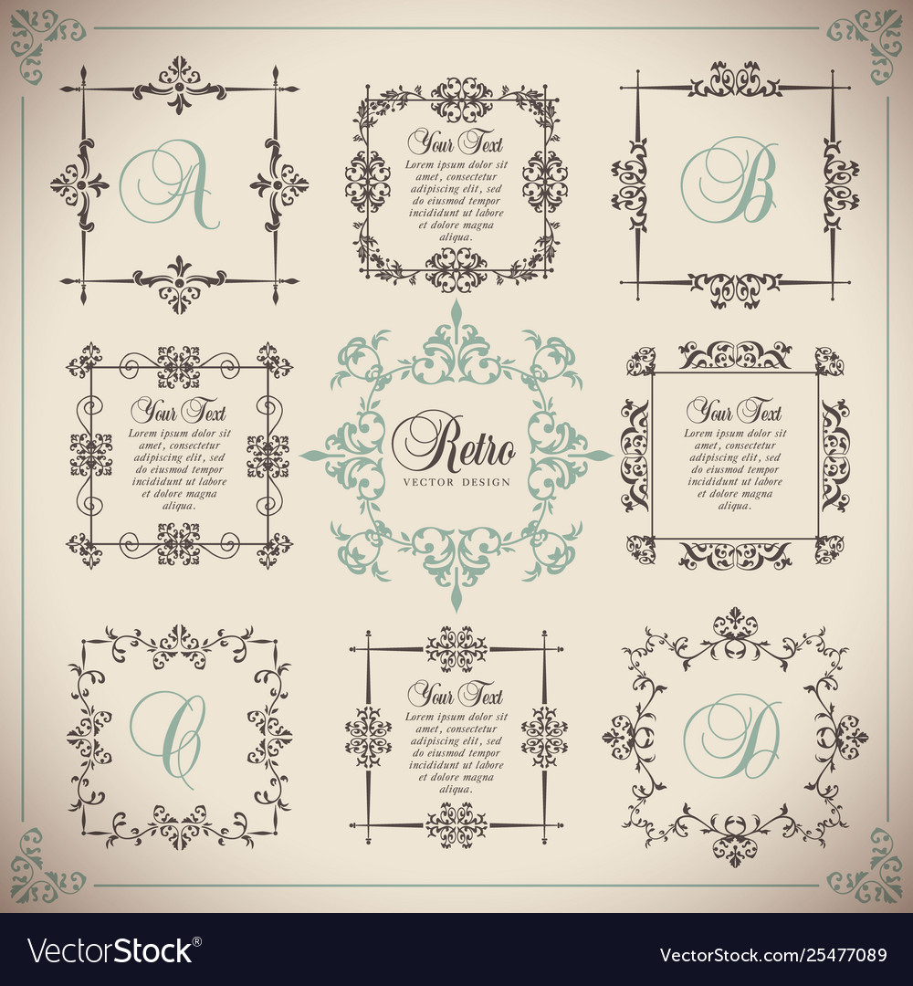 Vintage set floral elements for design of