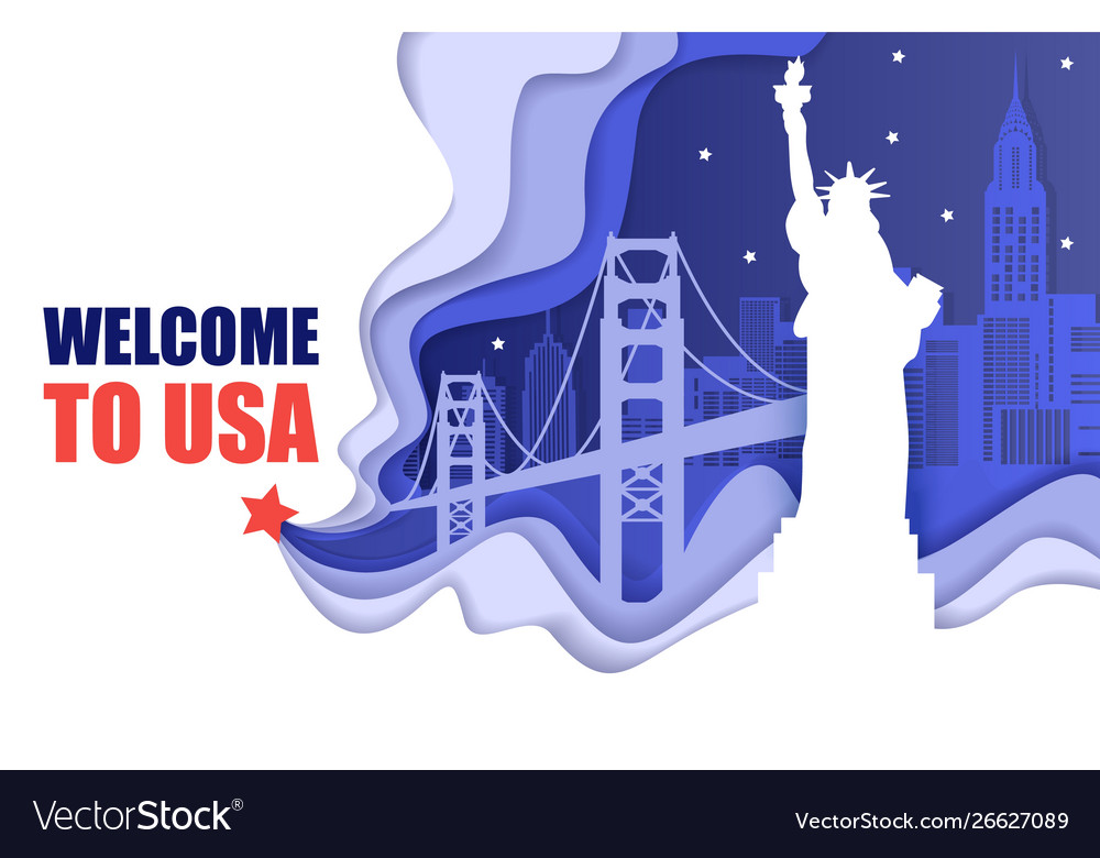 Welcome to usa poster paper cut