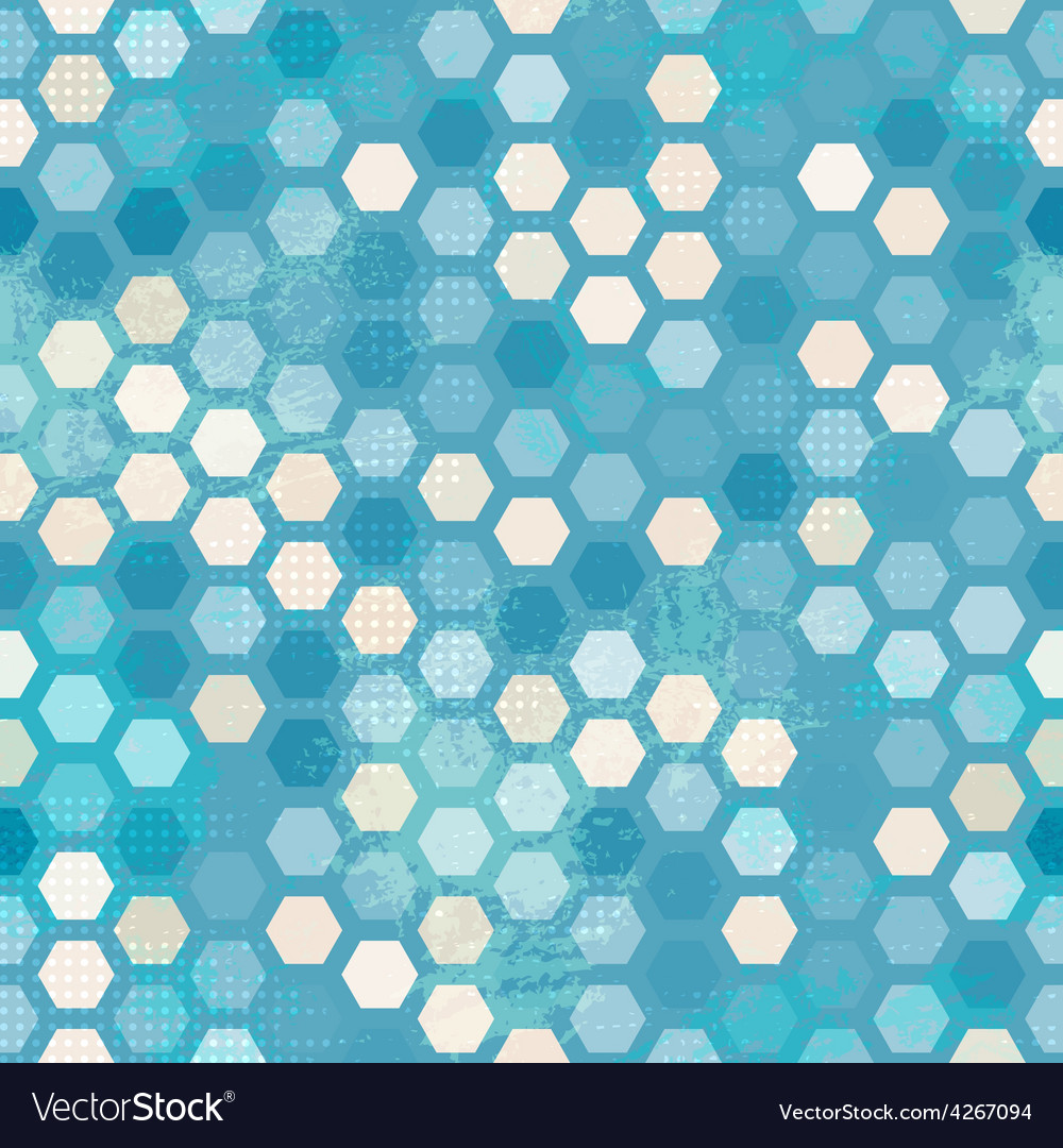 Abstract grunge blue cells seamless
