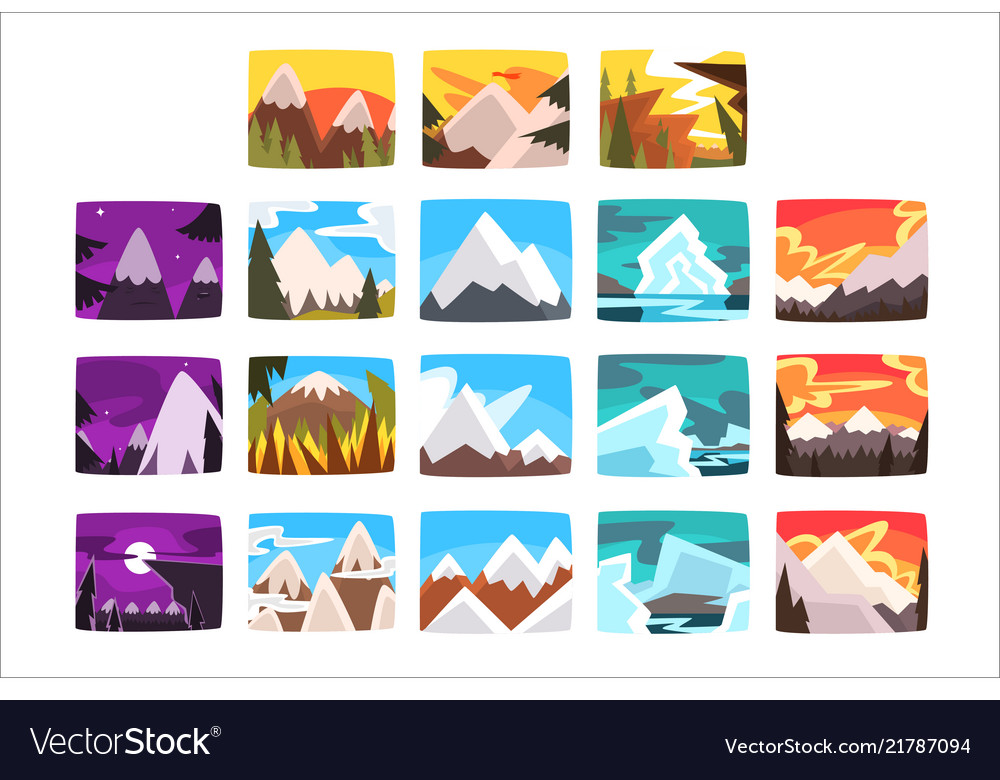 Beautiful mountain landscapes set in different