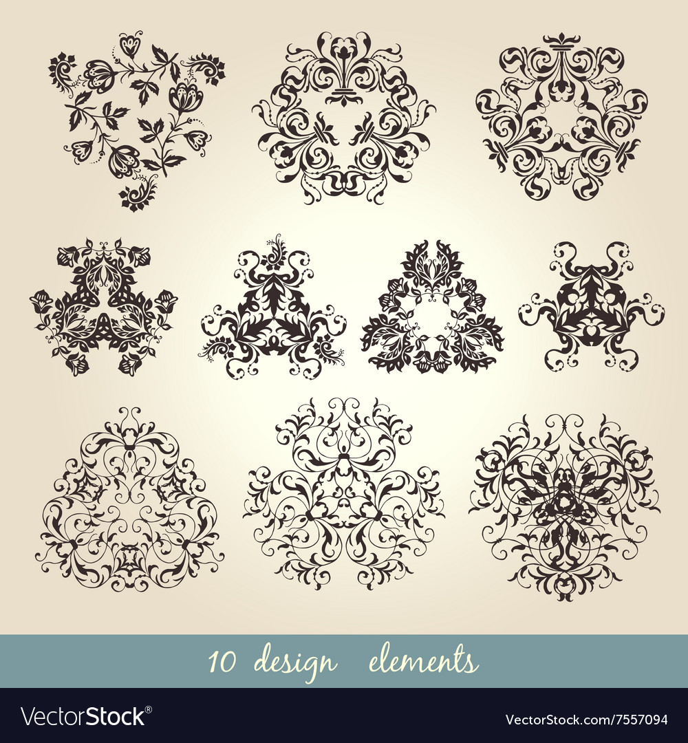 Calligraphic elements vintage set frame