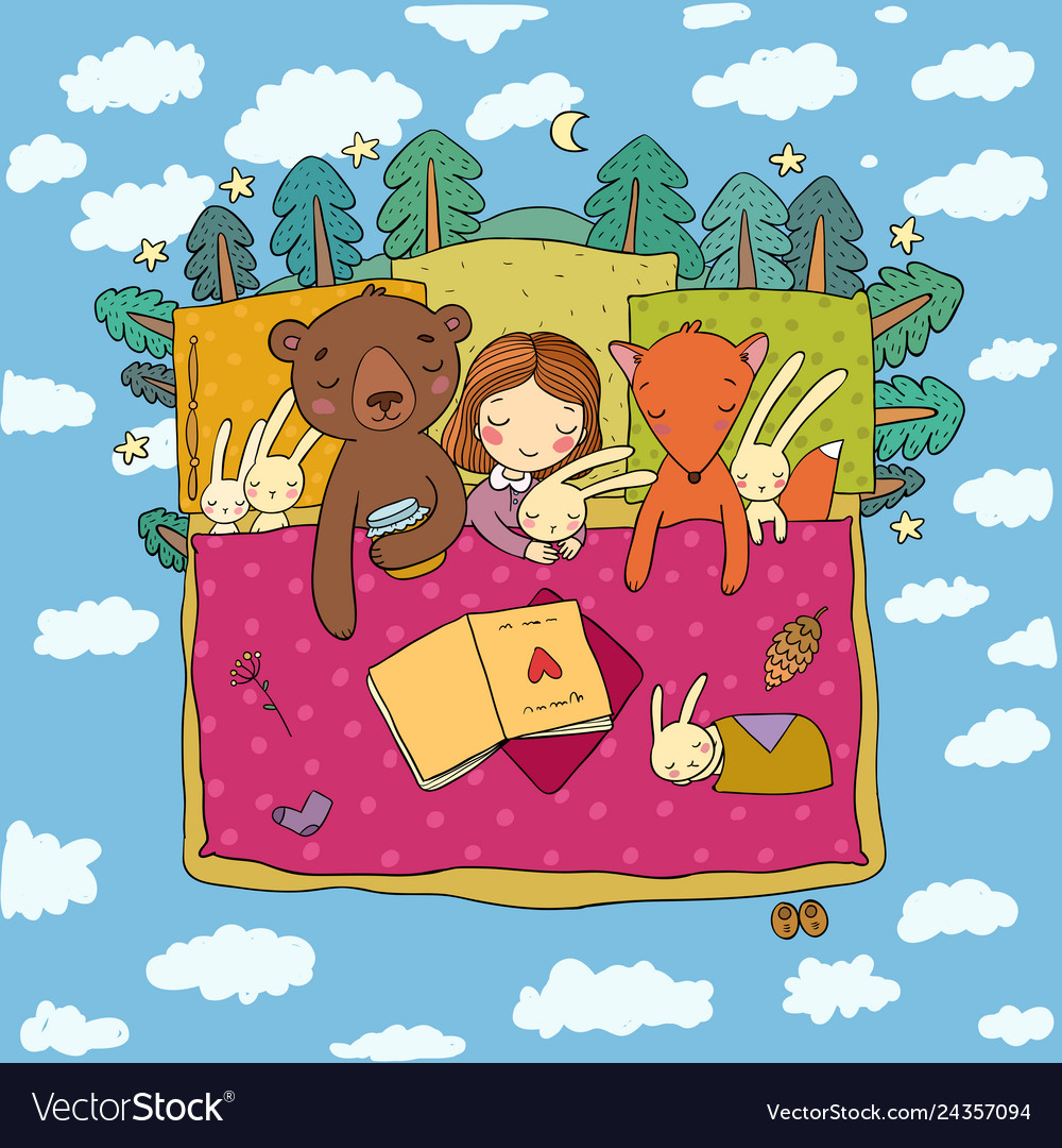 Cartoon girl sleeping in bed baby and toys