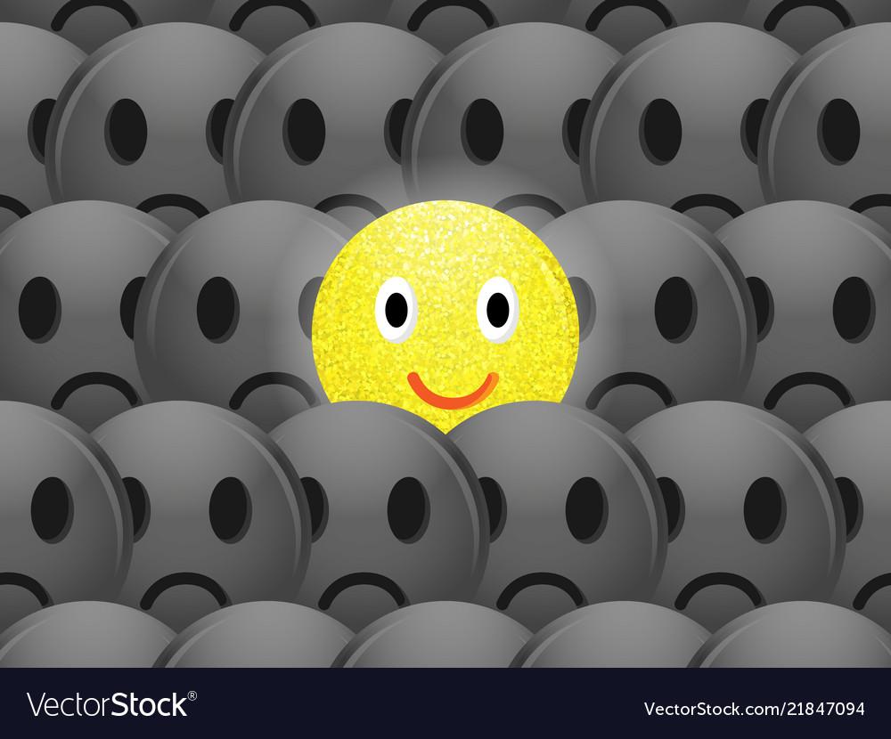 Cheerful positive and sad emoticons on dark