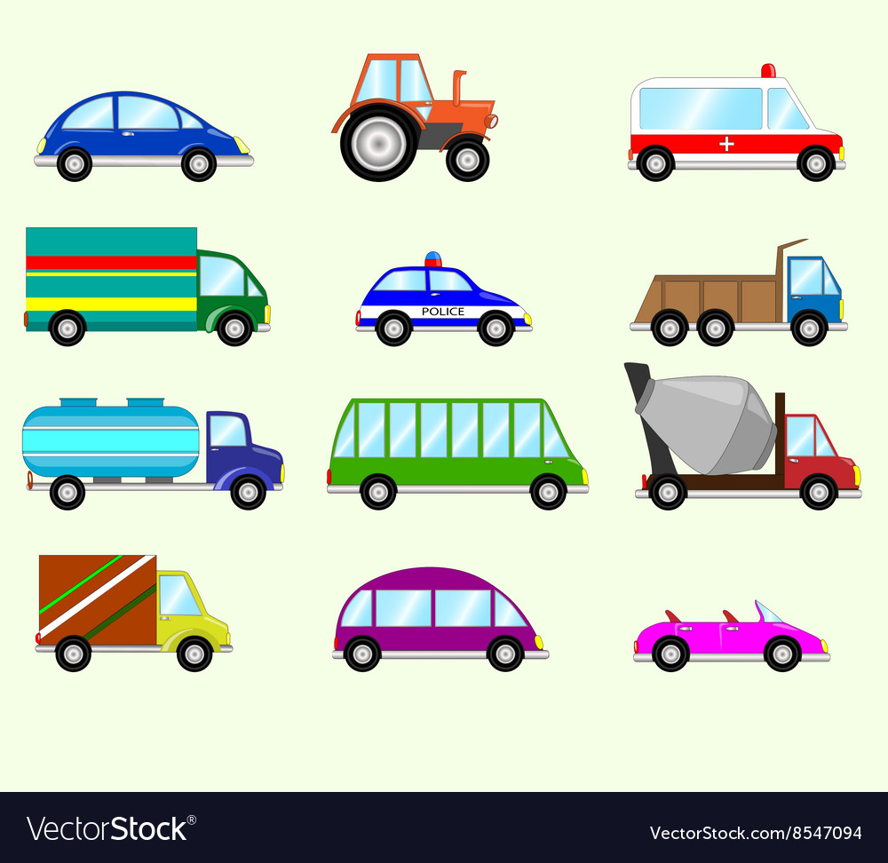 Different Types Of Vehicles >> Different Types Vehicles Royalty Free Vector Image