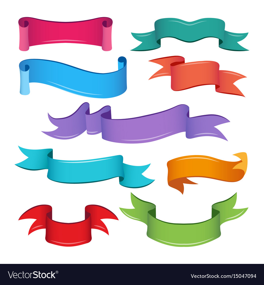 empty cartoon ribbons and banners royalty free vector image