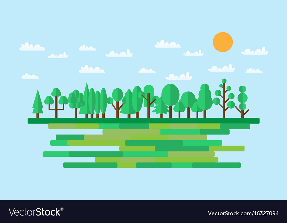Forest in flat style summer eco lifestyle
