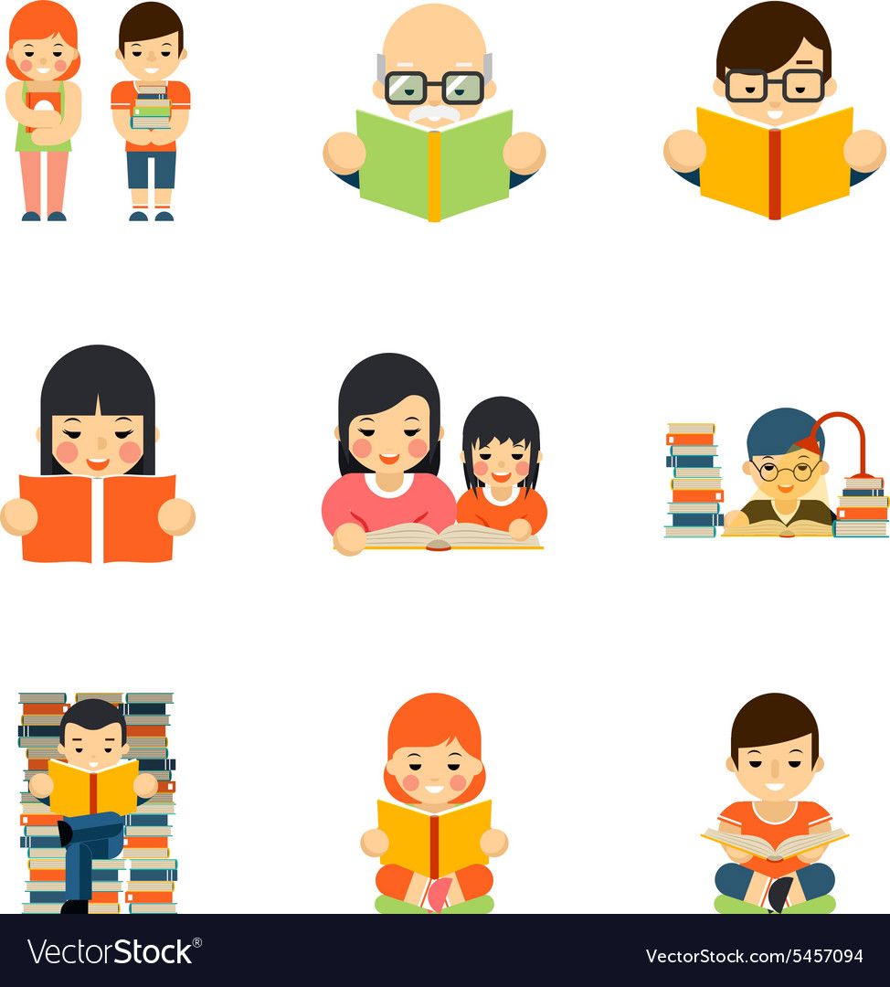Icons set of people reading book in flat style