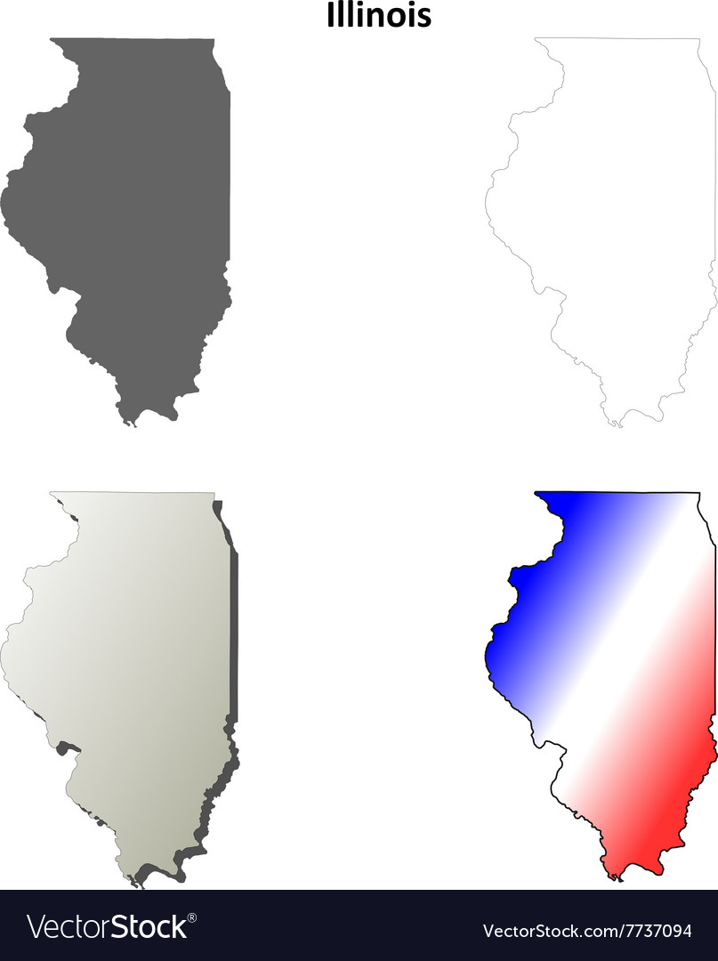 Illinois outline map set