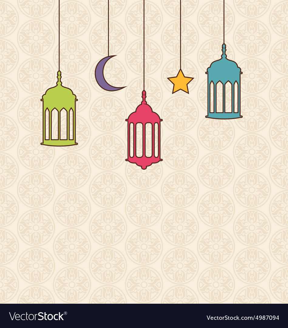 Islamic Background with Arabic Hanging Lamps for