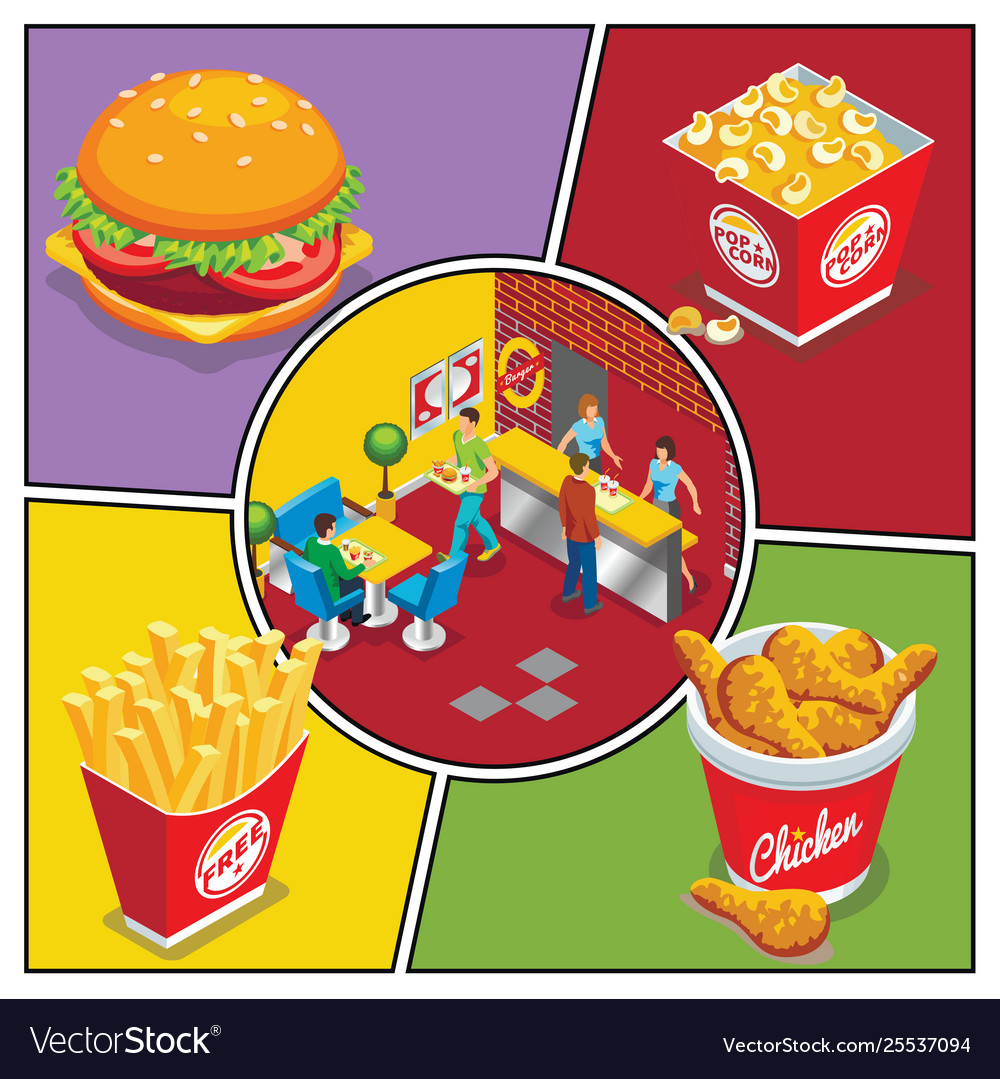 Isometric fast food colorful composition